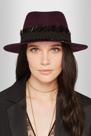 Andre feather and suede-trimmed rabbit-felt fedora
