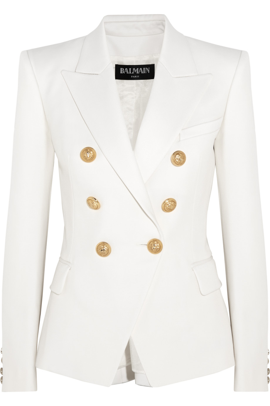 Balmain Double-Breasted Wool-Twill Blazer, White, Women's, Size: 38