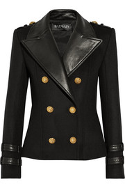 Leather-trimmed wool and cashmere-blend jacket
