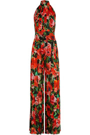 Pleated floral-print silk jumpsuit