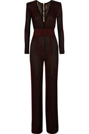 Striped stretch-knit jumpsuit