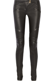 Moto-style leather skinny pants