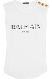 Balmain Printed cotton-jersey top
