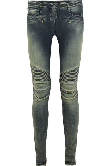 WOMAN MOTO-STYLE LOW-RISE SKINNY JEANS DARK DENIM