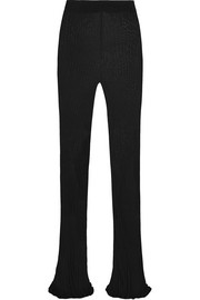Ribbed stretch-jersey flared pants