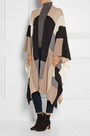 Color-block cashmere wrap