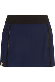 Pleated stretch-jersey tennis skirt