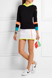 Color-block stretch-jersey hooded top