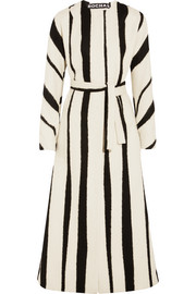 Striped brushed wool-blend coat
