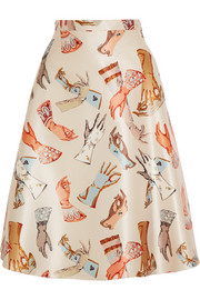 Printed duchesse-satin skirt