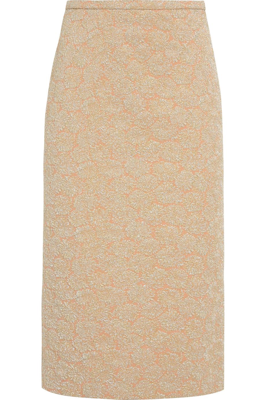 Rochas Metallic Brocade Midi Skirt, Peach, Women's, Size: 40