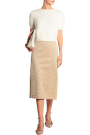 Rochas Metallic brocade midi skirt