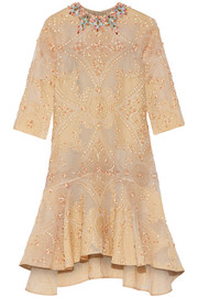 Laurie embellished cotton-blend cloqué dress