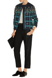 Coco embellished lace-appliquéd tweed jacket