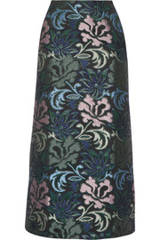 Nemine jacquard and tweed midi skirt