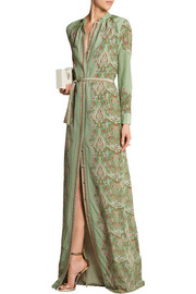 Maxine printed silk gown