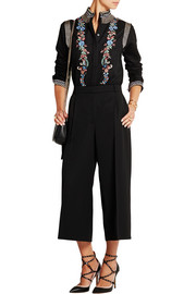 Erin embroidered wool and cashmere-blend blouse