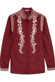 Koby embroidered wool and cashmere-blend blouse