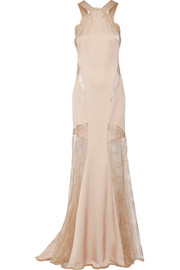 Silk-blend satin and lace gown