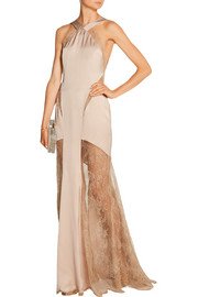 Emilio Pucci Silk-blend satin and lace gown