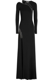 Eyelet-embellished stretch-crepe gown