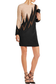 Lace and mesh-paneled silk-blend mini dress