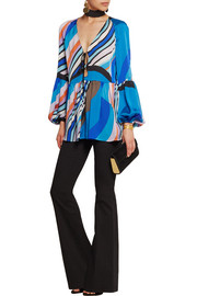 Emilio Pucci Printed silk-charmeuse top