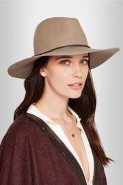 Emilio Pucci Leather-trimmed merino wool-felt fedora