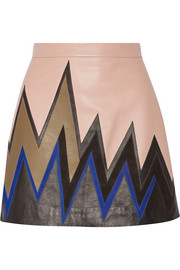 Emilio Pucci Suede-trimmed leather mini skirt