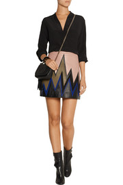 Suede-trimmed leather mini skirt