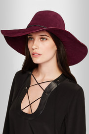 Braided leather-trimmed suede fedora