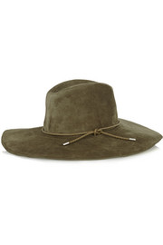Braid-trimmed suede fedora