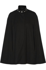 Natalie leather-trimmed wool-blend cape