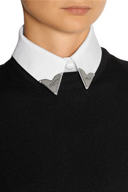 Karina embellished cotton-blend twill collar