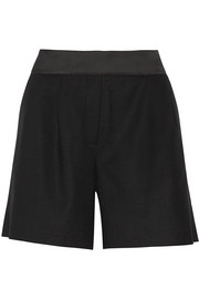 Evelia satin-trimmed stretch wool-twill shorts