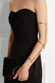 Convertible gold-tone pearl arm bracelet