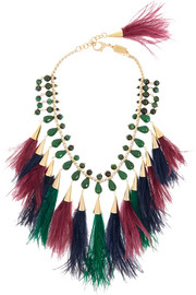 Faggio gold-tone, quartz and feather necklace
