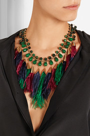 Rosantica Faggio gold-tone, quartz and feather necklace