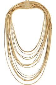 Gold-tone faux pearl multi-strand necklace