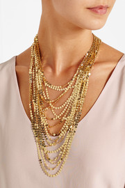 Paillettes gold-tone multi-strand necklace
