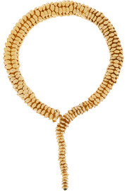 Anaconda gold-tone quartz necklace