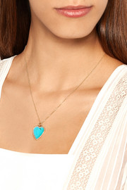18-karat gold, diamond and turquoise heart necklace