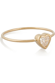 Heart 18-karat gold diamond ring