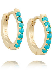Huggy 18-karat gold turquoise hoop earrings