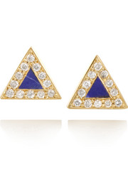 18-karat gold, diamond and lapis lazuli triangle earrings
