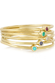 Set of five 18-karat gold multi-stone rings