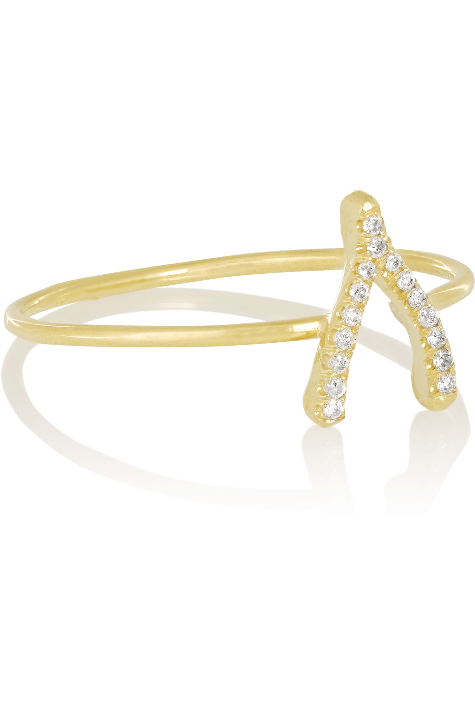 Jennifer Meyer Wishbone 18-karat gold diamond ring