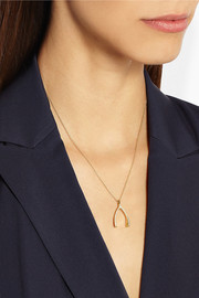 18-karat gold diamond wishbone necklace