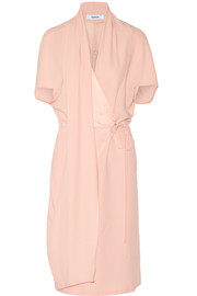 Wrap-effect crepe dress