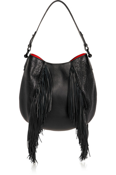 16dbbf3fcc Christian Louboutin | Luckyl fringed textured-leather shoulder bag ...